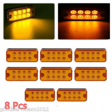 8 Pcs Amber 8LED Autos Trailer Truck Lorry Caravan Side Marker Lights Waterproof