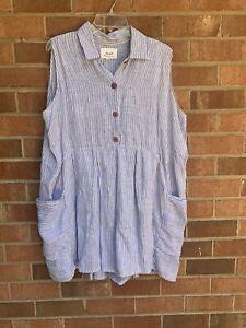 Flax Blue Striped Tunic L