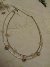 """Clear & White 2 Strand Glass Beads with Flower Beeads & Rose Quartz 15-18"""" long"""