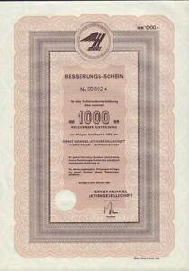 AIRCRAFT / AIRPLANE : HEINKEL GERMANY 1000 Reichsmark 1943/1962 ( HE 111 Bomber