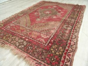 Vintage Handwoven Faded Wool Kilim 3x4 Traditional Oriental Red Small Area Rug