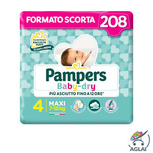 Pampers Baby Dry 208 Pannolini Taglia 4 Maxi 7-18 kg Extraconvenienza