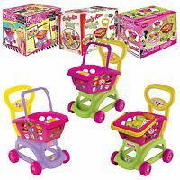 Kids Shopping Trolley & Basket Role Play Plastic Toy Fruit Food Utensil Market
