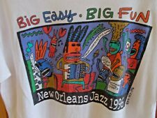 NEW ORLEANS JAZZ FESTIVAL 1996 T-SHIRT SIZE L ART BY BIG HED SSLV WHITE CREW NEC