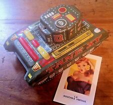 FRENCH  WIND-UP METAL TIN TOY~ARMY MILITARY TANK XY~MADE IN FRANCE~RARE VINTAGE