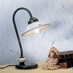 Bedside Lamp Lumetto Classic White Ceramic Decorated by Hand