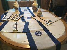 VINTAGE ASIAN SET RUNNER W TASSELS, 6 NAPKINS RINGS CHOPSTICKS NEW BLUE CLASSY