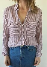 ZARA Red Stripe Two Pocket Long Sleeve Button Down Shirt Size M