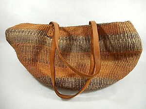 Vintage Woven Large Jute Bag with Leather Straps