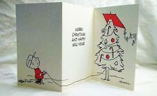 Vintage RARE 1970's Peanuts Charlie Brown Kite Christmas New Year Card Tri-Fold
