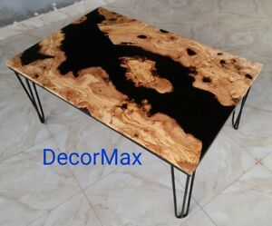 Epoxy Olive-wooden River Coffee table