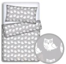 BABY BEDDING FIT CRIB SET 70x80cm PILLOWCASE DUVET COVER 2PC Owls Grey