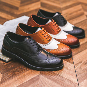 Men British Formal Faux Leather Lace Up Shoe Casual Formal Business Office Shoes