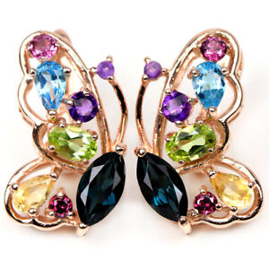 REAL CHROME DIOPSIDE CITRINE TOPAZ AMETHYST PERIDOT STERLING 925 SILVER EARRING