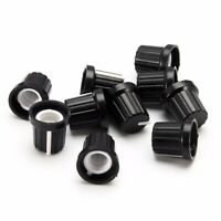 10pcs 6mm Black Shaft Hole Plastic Volume Control Potentiometer Knob Cap
