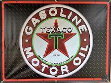 TEXACO GAS STATION NEON STYLE BANNER BLACK DIAMONDPLATE SIGN ART 4' X 3'