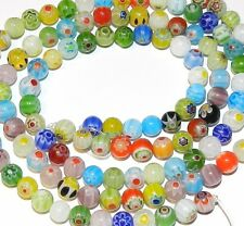 "G2519f Multi-Color Assorted 6mm Round Ball Millefiori Glass Bead Mix 15"" Strand"