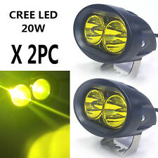 2PC Yellow 20W CREE LED Spot  Work Light Motorcycle Bike Driving Lamp Headlight