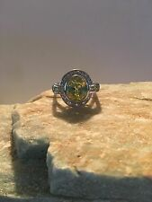 Art Deco Oval Cut Light Green Amethyst S-Silver PLATED AAA Ring Size 10-R760