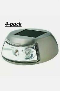 NEW Hampton Bay LED deck/step lights 4 pack Stainless Finish Solar powered 8 hr