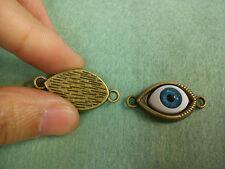 10 evil eye charm pendant connector links bronze antique tone wholesale