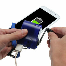 New USB Travel Emergency Phone Charger Dynamo Hand Manual Charger Blue OG