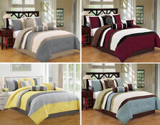 Dcp 7pc Comforter Set bed-in-a-bag Queen King Cal King Size Luxury Stripe Soft