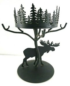 Partylite Forest Friends Moose Candle Holder Metal Lamp No Shade Rustic Cabin