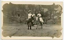 RPPC Two Women on Burros, Fancy Hats, Period Fashion, Monitou Colorado. 1912