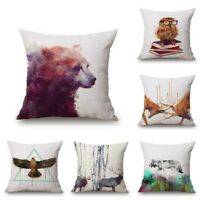 Nordic Simple Watercolor Painting Animals Pillow Case Cover Cushion 18 X 18 Inch