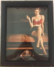 Pin Up Girl Modern Original Photographic Art Car Smoking Frilly Bra Short Skirt