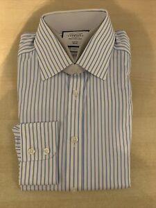 charles tyrwhitt Non-Iron Twill Stripe Shirt White & Sky Slim Fit C15.5-S33, New