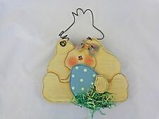 "EASTER BUNNY WALL HANGING 9"" Girl Blue Egg Die Cut Wood Wire Hand Painted"