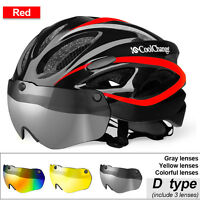 Unisex Adult Bicycle Helmet Mountain Bike Cycle Outdoor Safety Helmet with Lens