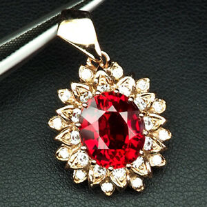SAPPHIRE PINK PADPARADSCHA OVAL 7.50 CT. 925 STERLING SILVER GOLD PENDANT WOMEN