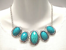 Fashion Women Oval ShapeTurquoise Blue Silver Planed Choker Chunky Necklace
