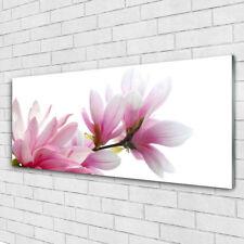 Tableau murale Impression sous verre 125x50 Floral Magnolia Fleurs