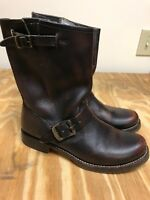 FRYE VERONICA Short/Shortie Boots - Dark Brown Leather Engineer Sz 8B run small