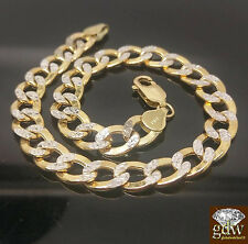 Men's 10k Yellow Gold,8mm Diamond Cuts Miami Cuban Link Bracelet,Rope,Byzantine