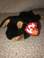 """Ty Beanie Baby DAVEY The Doberman /""""Designed for Davey/'s Voice Foundation/"""" MWMTs!"""