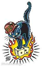 Mini Size Black Cat Sticker Decal Art Vince Ray VR20B