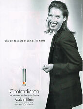 PUBLICITE  ADVERTIS  1998   CALVIN KLEIN parfum CONTRADICTION CHRISTY TURLINGTON