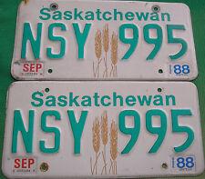 1988 Saskatchewan Wheat Graphic License Plate Set NSY 995