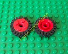 1x Lego 6248c01 Wheel Freestyle, Black Tire Offset Tread (6248 / 3483) RED