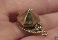 14k gold rare vintage TENT charm couple camping fire OPENS