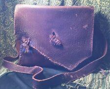 Vintage Artisan Buffalo Bison Leather Large Rustic Maroon Messenger Satchel Bag