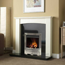 """GAS WHITE CURVED SURROUND BLACK GRANITE SILVER COAL FIRE FIREPLACE SUITE 48"""""""