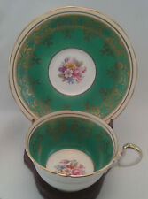 AYNSLEY TEA CUP AND SAUCER GREEN & FLORAL PATTERN TEACUP LOW DORIS