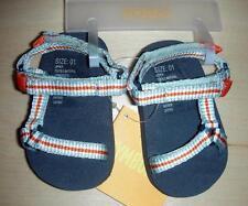 New Gymboree At the Beach Boys Blue Orange Stripe Strappy Sandals 01 1