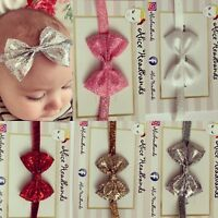 Gold Silver Red Glitter Fabric Bow Headband Baby Girl Headbands Newborn  + Lot